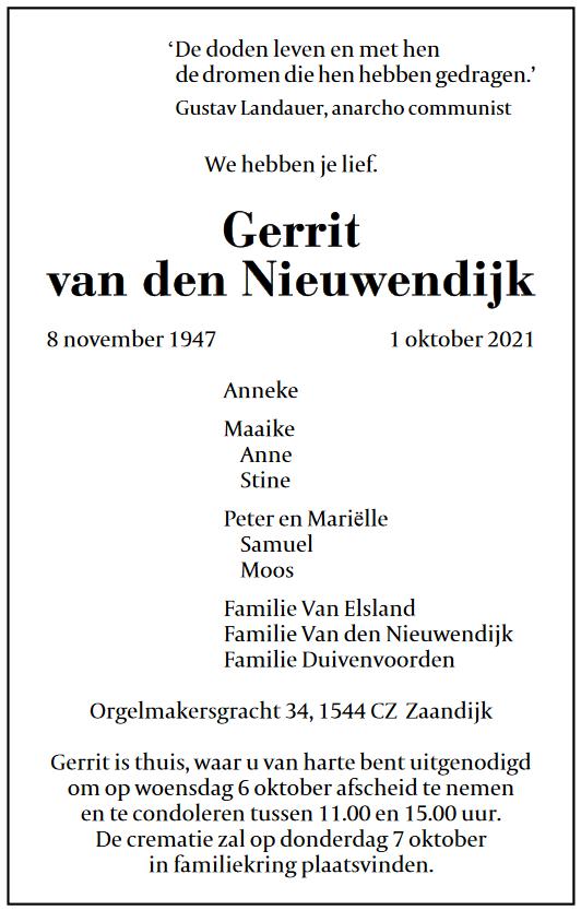 Rouwadvertentie Gerrit van den Nieuwendijk